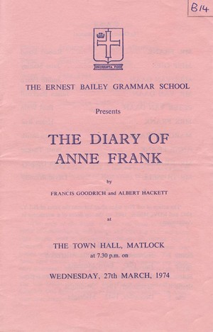 First page of Anne Frank programme