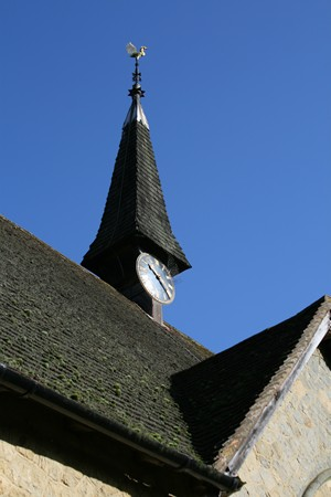The church tower at Peaslake, Surrey